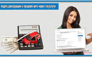 Деклараия при продаже авто госуслуги как делать